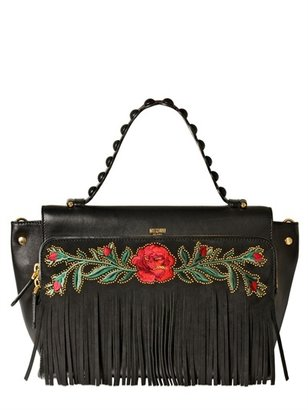 Moschino Babe Fringes Embroidered Leather Bag