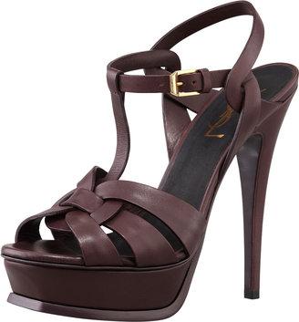 Saint Laurent Tribute High-Heel Leather Sandal, Dark Red