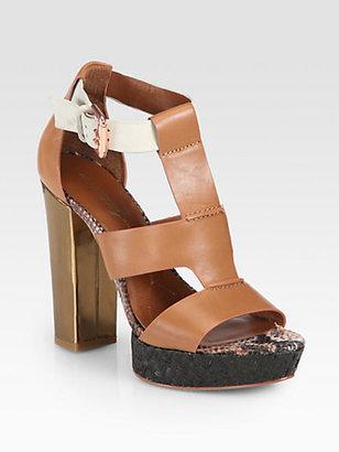 Boutique 9 Raffia-Trimmed Leather Sandals