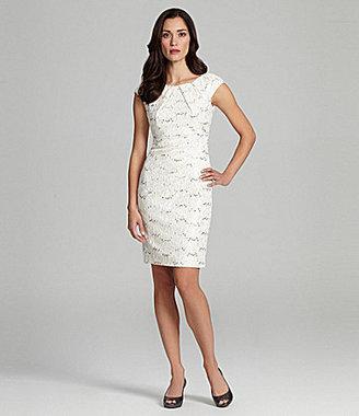 Jax Cap-Sleeve Rhinestone-Lace Dress