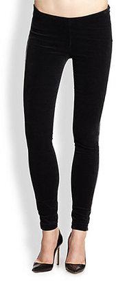 Genetic Denim Faux Leather-Trimmed Stretch Jersey Leggings