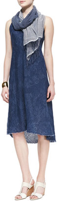 Eileen Fisher Sleeveless Printed Linen Bias Dress
