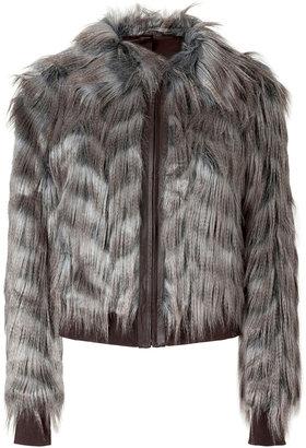 Rachel Zoe Taupe Grey Vintage Faux Fur Darcy Blouson Jacket
