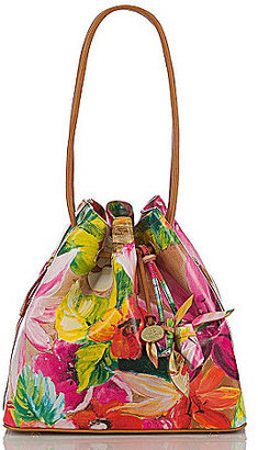 Brahmin Pink Tropical Floral Collection Trina Rose Drawstring Tote Bag