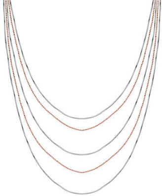 Lord & Taylor Two-Tone Sterling Silver Tiered Strand Necklace