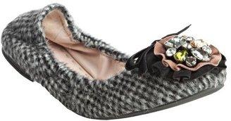 Miu Miu Miu grey check print faux fur jeweled ballet flats