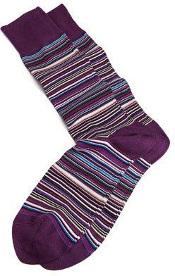 Paul Smith Classic Mini-Striped Men's Socks, Purple-Multi