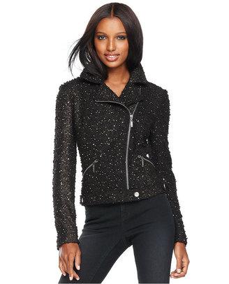 INC International Concepts Jacket, Metallic Boucle Tweed Moto