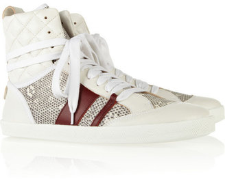 Chloé Quilted lizard-print and leather sneakers