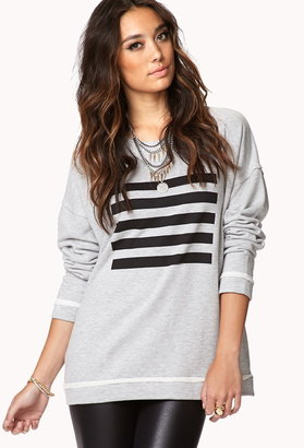 Forever 21 Striped Square Sweatshirt