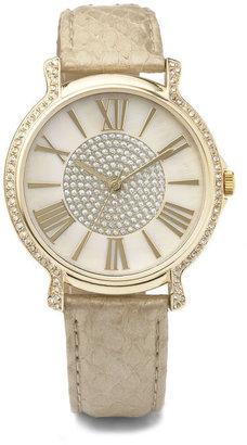 Anne Klein Crystal Bezel Strap Watch