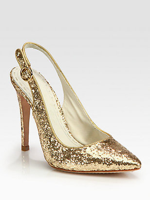 Alice + Olivia Darcy Glitter-Coated Leather Slingback Pumps