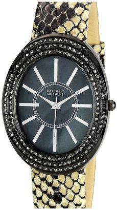 Badgley Mischka Embossed Leather Strap Watch