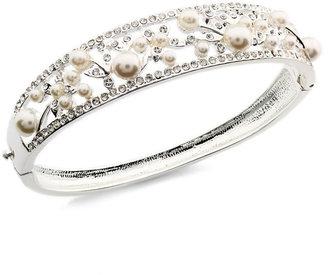 Charter Club Silver-Tone Hinged Bangle Bracelet