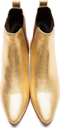 Saint Laurent Metallic Gold Leather Chelsea Ankle Boots