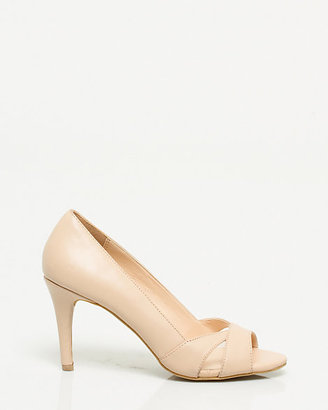 Le Château Faux Leather and Mesh Open Toe Pump