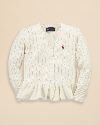 Ralph Lauren Toddler Girls' Cableknit Peplum Cardigan - Sizes 2-6X