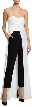 Aidan Mattox Two-Tone Strapless Jumpsuit with Skirt Overlay