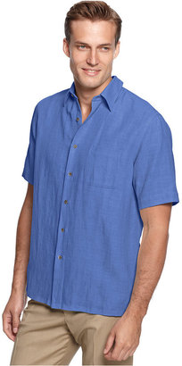 Tasso Elba Men's Silk and Linen Blend Crosshatch Short-Sleeve Shirt, Only at Macy's $55 thestylecure.com