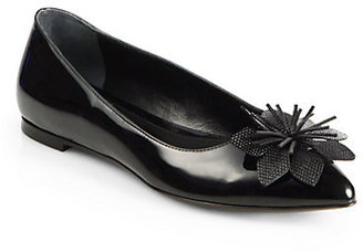 Fendi Jungle Flower Patent Leather Ballet Flats