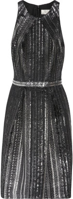 Lela Rose Metallic silk-blend jacquard dress