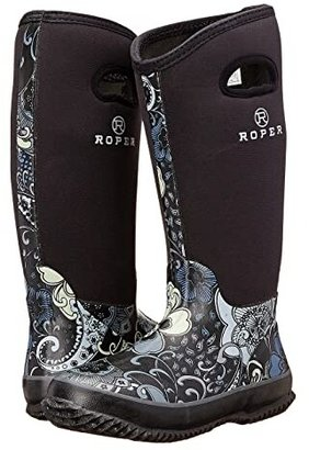Roper Flower Barn Boot (Black) Women's Rain Boots