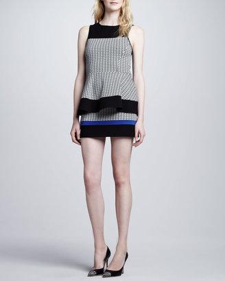 Tibi Houndstooth Colorblock Knit Mini Skirt