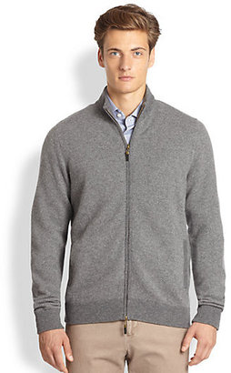 Saks Fifth Avenue Collection Herringbone Full-Zip Cashmere Sweater