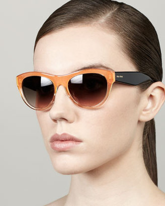 Miu Miu Large Glitter Oval Sunglasses, Orange