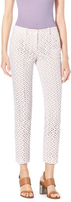 Michael Kors Eyelet-Embroidered Silk-Jacquard Skinny Pants