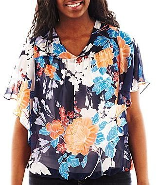 JCPenney a.n.a® Flutter-Sleeve Blouse - Plus