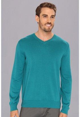 Calvin Klein Jeans 12GG Plaited Jersey V-Neck Sweater (Blue Largo) - Apparel