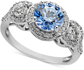 Arabella Sterling Silver Ring, Blue and White Swarovski Zirconia Three Stone Ring (3-1/3 ct. t.w.)