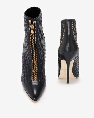Brian Atwood Quilted Leather Bootie: Black