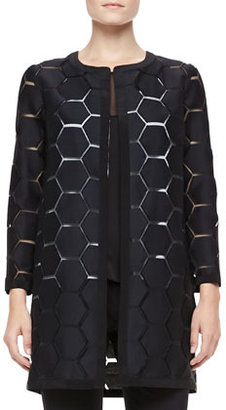 Milly Geometric Cocktail Coat, Black