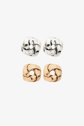 Gold & Silver Knot Post Earring Set