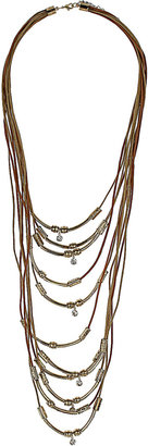 Topshop Multi Row Etched Bead Necklace