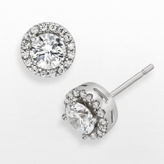 Diamonore sterling silver 1-ct. t.w. simulated diamond halo stud earrings