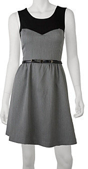 Amy Byer A Byer A. Byer Juniors' Menswear Full Skirt Dress