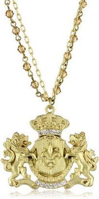 Sisi Amber Lions and Fleur de Lis Medallion Brass Necklace