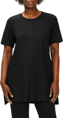 Eileen Fisher Plus Size Washable Stretch Crepe Crewneck Tunic