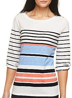 JCPenney jcpTM Striped Roll-Sleeve Boatneck Tee