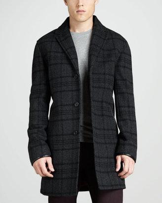 Lenox Leather-Trim Plaid Topcoat