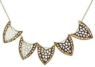 Kara Ross Gold Tone Geometric Pendant Frontal Necklace