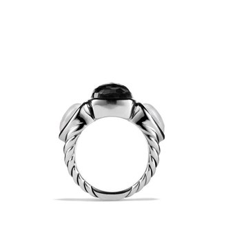 David Yurman Grisaille Three-Stone Ring with Crystal and Moon Quartz