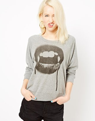 Illustrated People Vampire Mouth Raglan Sweat Top