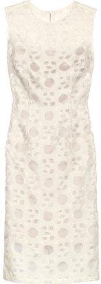 Lela Rose Patterned woven and organza dress
