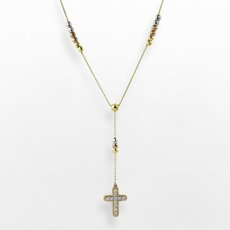 14k Gold Tri-Tone 1/4-Ct. T.w. Diamond Rosary Necklace