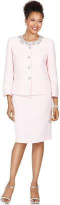 Kasper Suit, Three Quarter Sleeve Beaded Jewel Button Jacket & Skirt