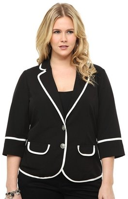 Black With Pop White Trim Blazer